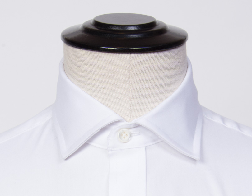 Stiff english spread collar by proper cloth for Spread collar dress shirt without tie