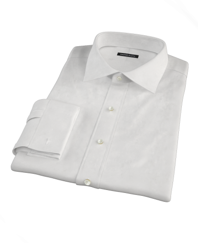 White 160s Broadcloth Fitted Dress Shirt