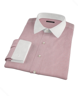 100s Red University Stripe Fitted Dress Shirt
