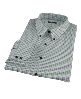Canclini Green and Blue Mini Gingham Dress Shirt