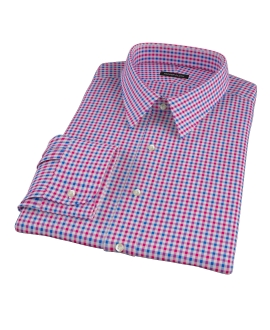 Red and Blue Small Gingham Custom Dress Shirt