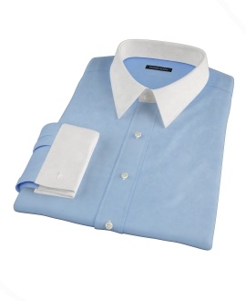 100s Medium Blue Wrinkle Resistant Broadcloth Dress Shirt