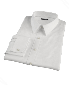 White Wrinkle Resistant Rich Herringbone Custom Dress Shirt