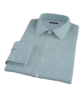 100s Dark Green Mini Gingham Men's Dress Shirt