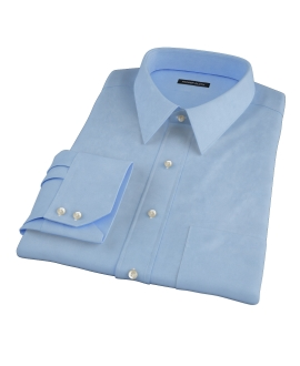 100s Medium Blue Wrinkle Resistant Broadcloth Fitted Shirt