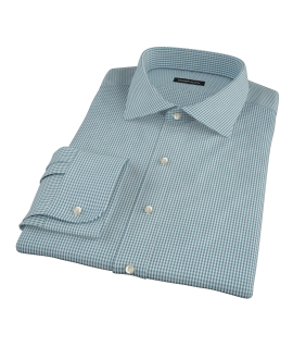 100s Dark Green Mini Gingham Fitted Dress Shirt