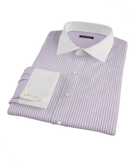 Greenwich Lavender Bordered Stripe Dress Shirt