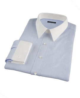 Light Blue and White Bordered Stripe Fitted Dress Shirt