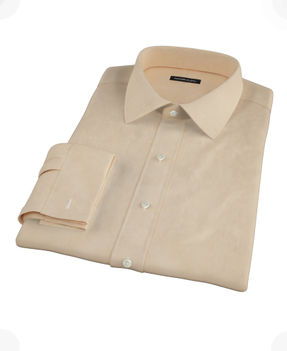 Orange End-on-End Fitted Dress Shirt 