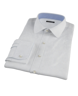 140s Light Blue Wrinkle Resistant Fine Grid Men's Dress Shirt