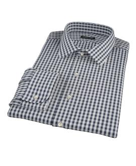 Dark Navy Gingham Fitted Shirt