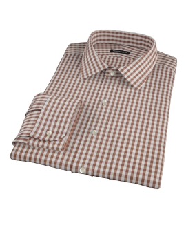 Clove Brown Gingham Fitted Shirt