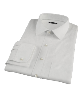 140s Ivory Wrinkle Resistant Broadcloth Fitted Dress Shirt