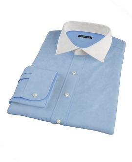 100s Medium Blue Wrinkle Resistant Broadcloth Custom Made Shirt