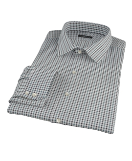 Green and Black Gingham Twill Fitted Dress Shirt