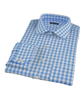 Light Blue Large Gingham Custom Dress Shirt