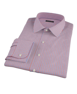 Red and Blue Mini Gingham Fitted Dress Shirt