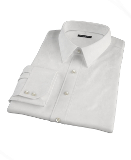 White Wrinkle Resistant Rich Herringbone Custom Made Shirt