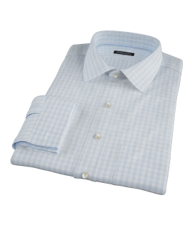 Pale Blue Gingham Men's Dress Shirt