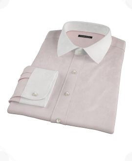 Pink Wrinkle Resistant Cavalry Twill Fitted Dress Shirt