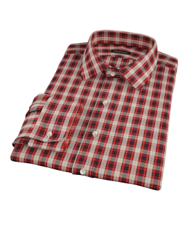 Mandarin Orange Plaid Fitted Shirt