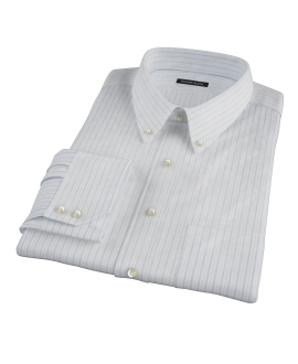 Albini Light Blue Satin Stripe Fitted Shirt
