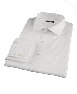 White Wrinkle Resistant Mini Herringbone Custom Dress Shirt