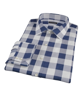 Extra Large Navy Gingham Custom Dress Shirt