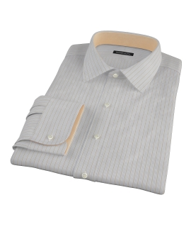 Tan and Blue Multi Stripe Dress Shirt