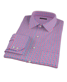 Red and Blue Small Gingham Fitted Dress Shirt