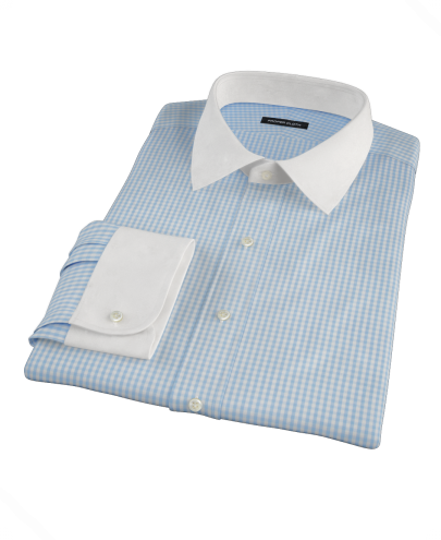 Small Light Blue Japanese Gingham Men's Dress Shirt 