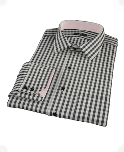 Black Classic Gingham Men's Dress Shirt