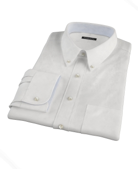 White Wrinkle Resistant Cavalry Twill Custom Dress Shirt