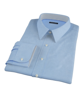 100s Medium Blue Wrinkle Resistant Broadcloth Men's Dress Shirt