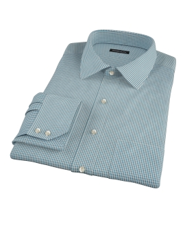 100s Dark Green Mini Gingham Dress Shirt