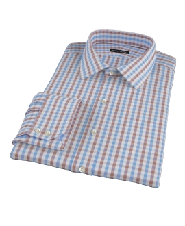 Thomas Mason Blue & Brown Gingham Fitted Shirt