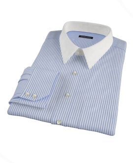 140s Wrinkle Resistant Dark Blue Stripe Custom Dress Shirt