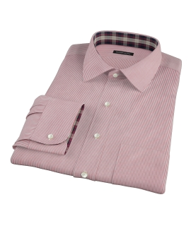 100s Red University Stripe Men's Dress Shirt