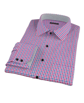 Red and Blue Small Gingham Fitted Shirt