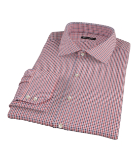 Canclini Red and Navy Mini Gingham Dress Shirt
