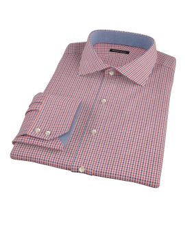 Canclini Red and Navy Mini Gingham Men's Dress Shirt