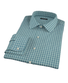 Veridian Green Oxford Plaid Men's Dress Shirt