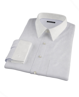 Aqua and Lavender Satin Stripe Fitted Dress Shirt