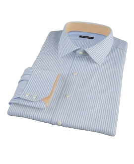 140s Wrinkle Resistant Blue Stripe Fitted Shirt