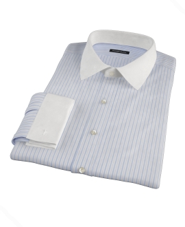Light Blue and Black Multi-Stripe Fitted Shirt