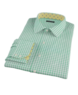Medium Light Green Gingham Dress Shirt