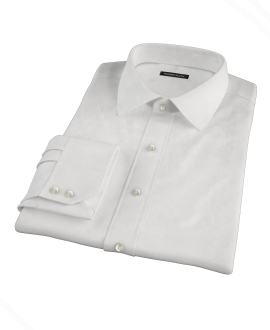 White Wrinkle Resistant Mini Herringbone Fitted Shirt