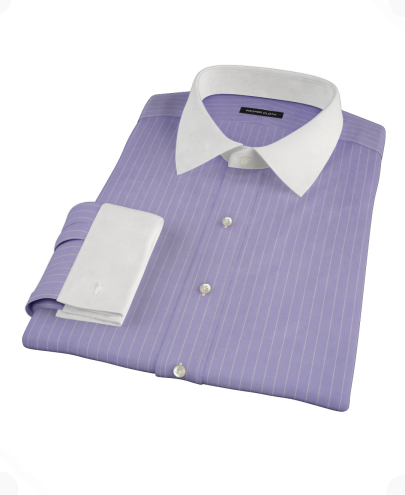 Purple White Pinstripe Men's Dress Shirt