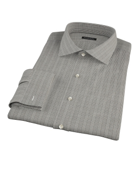 Japanese Black Glen Plaid Fitted Dress Shirt