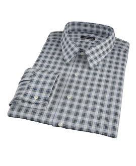 Blue and Green Plaid Men's Dress Shirt